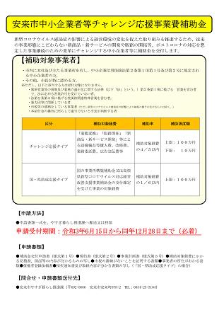 安来市中小企業者等チャレンジ応援事業費補助金イメージ